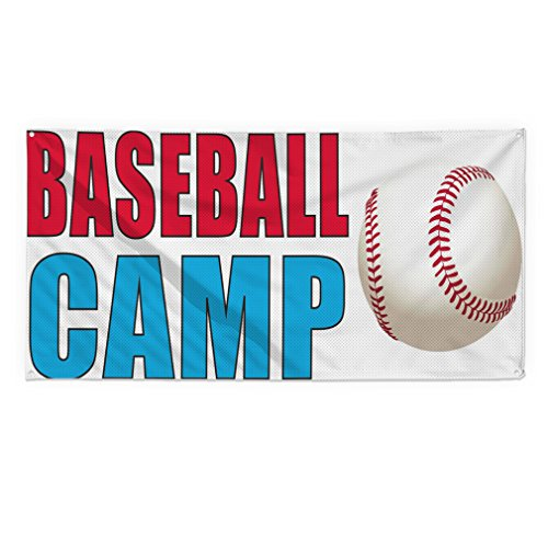Baseball Camp Outdoor Fence Sign Vinyl Windproof Mesh Banner With Grommets - 2ftx3ft, 4 ()