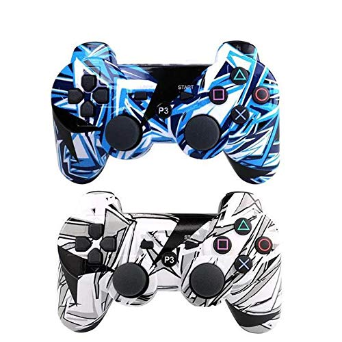 [2 Pack] Remote Bluetooth Controller for Playstation 3, Wireless Sixaxis Double Vibration Gamepad for PS3 (Include USB Charging Cable (White+Light - Controller White Wireless Ps3