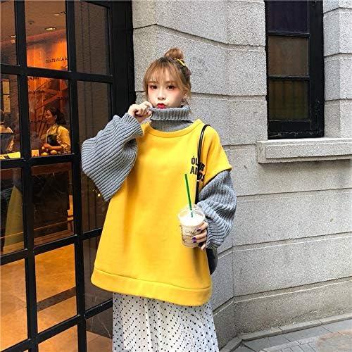 HOVYGB Brief Drucken Sweatshirt Vintage Women Fashion Lose Beiläufige Frauen Sweatshirt Gelb