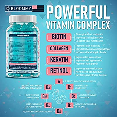 Biotin, Keratin & Collagen Gummies - Made in USA - Extra Strength Biotin 5000 mcg - Healthy Look - Rich in Keratin & Collagen - Premium Treatment - 100% Natural, Tasty & Super Efficient, 60 Count