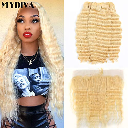 Wave 613 - Mydiva Hair Deep Wave 613 Blonde human hair with Frontal Virgin Hair 3 Bundles With Lace Front Brazilian Curly Deep Honey Blonde Human Hair Bundles (14 16 18+12, bundles with frontal)