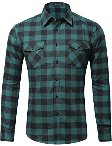 XI PENG Men's Dress Long Sleeve Flannel Shirt Thermal Plaid Checkered Jacket (Teal Green, Large)