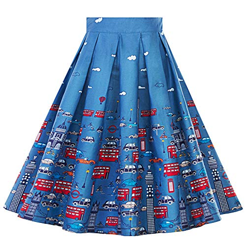 FarJing Womens Dress Vintage A-line Floral High Waist Printed Pleated Flared Gown Midi Skirts(L,Blue