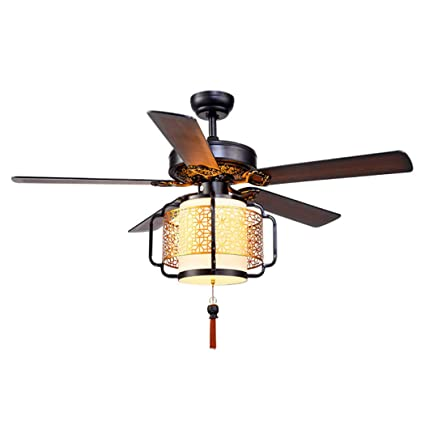 52 Ceiling Fan Light Vintage Asian Style Ceiling Fan Light Remote Controlled Wooden Blade Ceiling Fan Light Ultra Quiet Fan Interior Decoration