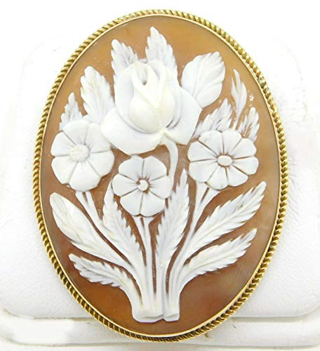 Gold Filled Cameo Pin - Gold-Filled Carved Floral Genuine Natural Shell Cameo Pin/Pendant (#J4259)