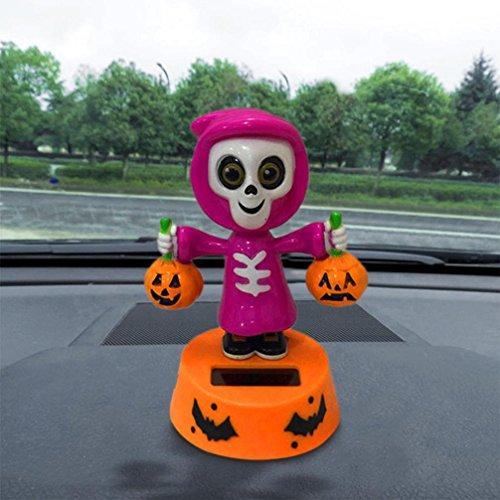 Malloom Solar Powered Skull Pumkin Dacing Toy Halloween Home Car Decor (E)