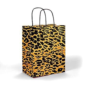Amazon.com: Colores Leopardo bolsas de regalo Kraft – Twist ...