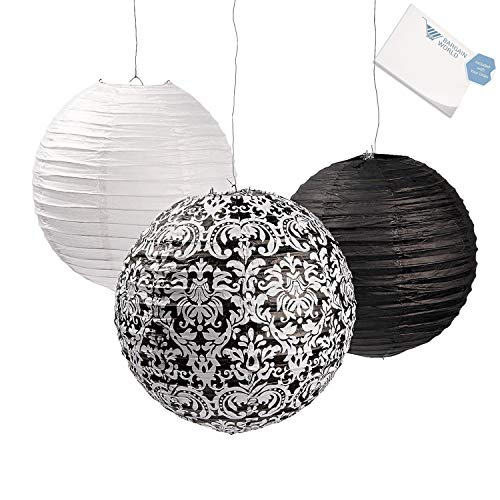 Bargain World Black & White Damask Paper Lanterns (With Sticky Notes) -