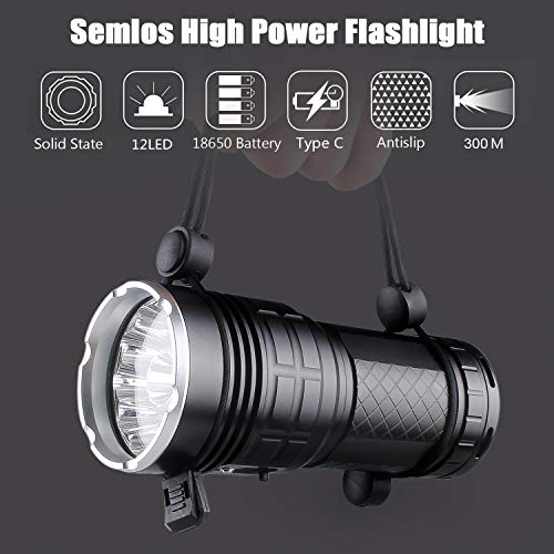Semlos 12 LED Super Bright LED Flashlight, Rechargeable Type-C 4 Modes Torch with Power Display Function and 4pcs Built-in Batteries for Camping Hiking Night Fishing