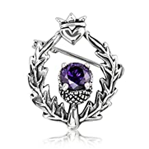 WithLoveSilver 925 Sterling Silver Classic Scottish Style Thistle Simulated Cubic Zirconia Heart Brooch Pin