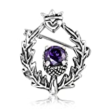 WithLoveSilver 925 Sterling Silver Classic Scottish Style Thistle Heart Simulated Cubic Zirconia Brooch