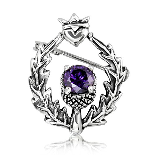 terling Silver Classic Scottish Style Thistle Heart Simulated Cubic Zirconia Brooch (Scottish Silver Brooch)