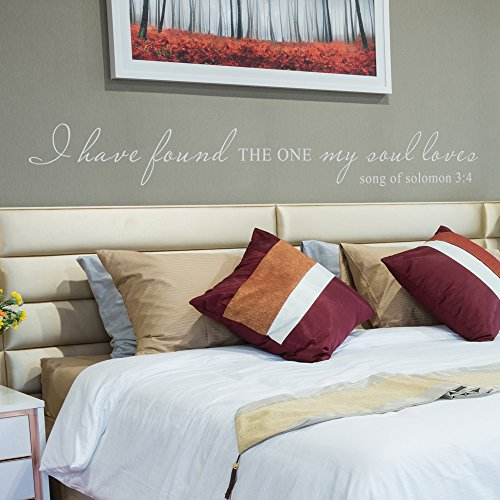 I Have Found the One Whom My Soul Loves Wall Decal Religious Wall Decor Christian Wall Decor Wedding Gift Bridal Shower Solomon 3:4 (58x8