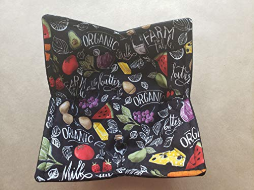 Organic Fruit and Vegetable Microwave Bowl Cozy Chalkboard Reversible Microwaveable Potholder Tomato Watermelon Butter Cheese Strawberry Farm to Table Kitchen Linens Handmade Gifts Under 10
