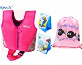 Rayma Baby UPF 50+ Life Jacket New Swimming Learner Protection Vest Package With Floating Sleeves (Print Pink, S 20-33lbs)