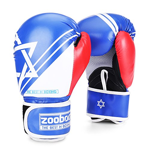 Flexzion Boxing Sparring Training Gloves Pro Muay Thai Kickboxing Heavy Bag Punching Mitts Wrist Wrap Full Contact Combat Sport Protective Hand Gear Martial Art Supply For Women & Teens, 10Oz (Blue)