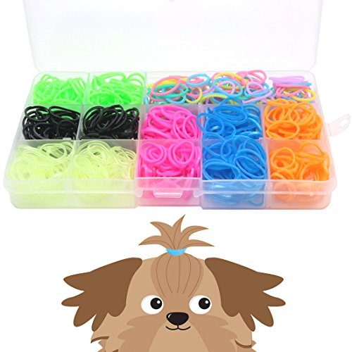 Price comparison product image YOY 3/4 Pet Dog Stretchy Rubber Bands, 600/Box - Puppy Elastics Ties Pony Tail Holders Hair Accessories for Doggy Grooming Top Knots Ponytails Braids and Dreadlocks