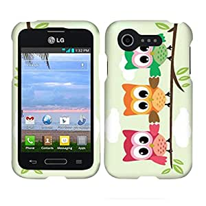 For LG Optimus Fuel L34c Triple Owl Verizon Mobile Case Cover Hard Case Snap-on Cases Protector Hard Shell Cover Rubberized Frosted Matte Surface Hard Shells