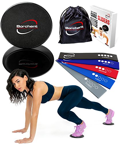 Core Sliders and 5 Resistance Bands for Fitness Equipment for Home for Intense, Low-Impact Exercises to Strengthen Core, Glutes, and Abs
