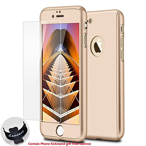 iPhone 7 Case,Lavince Full Body Protection Hard Slim Premium Cover[Dual Layer][Slim Fit] with Tempered Glass Screen Protector for iPhone 7 4.7inch(Luxury Gold)