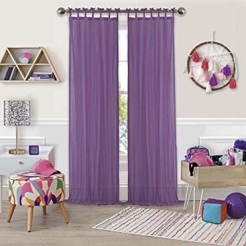 Elrene Home Fashions Greta Juvenile Teen or Tween Tab Top Sheer Single Window Panel Curtain Drape, 50 x 108 1, Purple