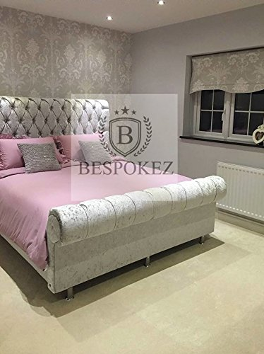 Crushed Velvet Crown Sleigh Bed 3FT Purple