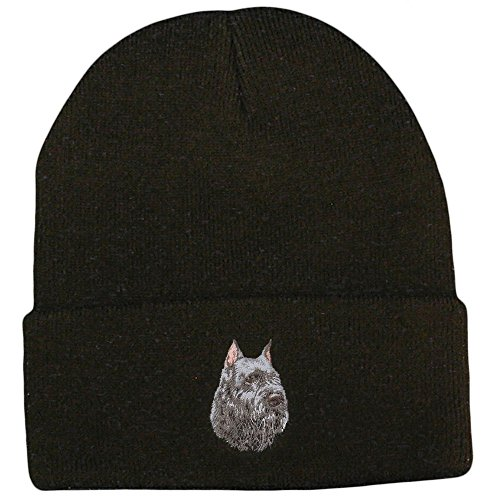 Cherrybrook Dog Breed Embroidered Ultra Club Classic Knit Beanies - Black - Bouvier des Flandres
