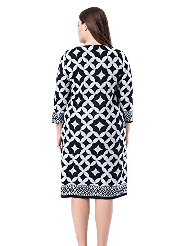 Work Chicwe Printed Cashmere Grey Length Casual Dress Size Plus and Dress Touch s Women Shift Knee PZwHqYPr