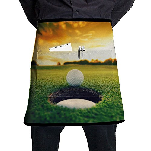 Golf Sports Sunset Adjustable Apron With Pocket For Kitchen BBQ Barbecue Cooking Ladyâ€s Men's Great Gift For Wife Ladies Men (Golf Bbq Sports Apron)