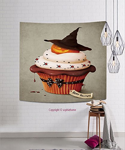 sophiehome Tapestries84770644 Halloween cake, Holiday greeting card. hanging magical thinking tapestry 11.8W x 11.8L (Halloween Makeover London)