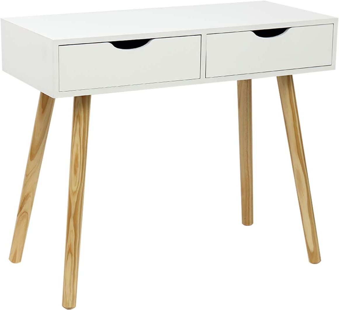 Writing Computer Desk, Laptop Notebook PC Workstation with 2 Drawers for Home Office, White