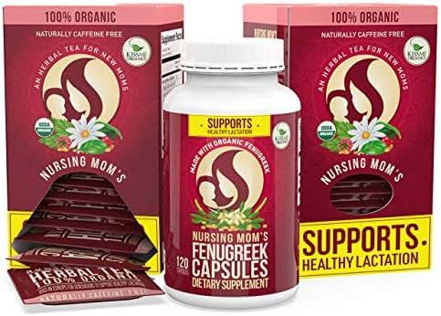Nursing Mom's Tea Kit - Helps Increase Lactation while Nursing - 120 Fenugreek Capsules & 60 Tea Bags - Supplement to Aid Production of Mother's Milks - Tea for Natural Breastfeeding Kiss Me Organics