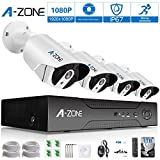 A-ZONE Security 4 Channel 1980P NVR HD 1080P IP PoE Security Camera System with 4 Outdoor /Indoor 3.6mm Fixed lens 2.0 Megapixel 1080P Cameras, QR Code Easy Setup, Free Remote View- with 1TB HDD,White