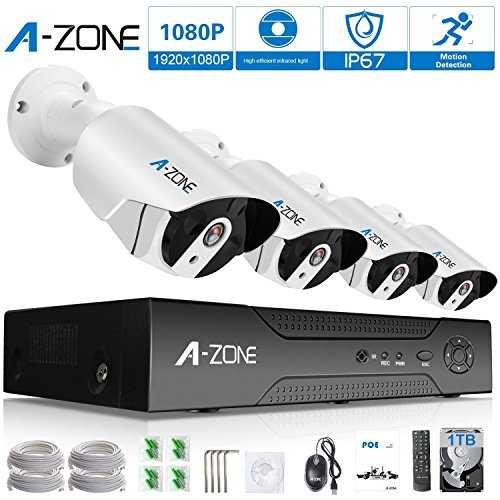 A-ZONE Security 4 Channel 1920P NVR HD 1080P IP PoE Security Camera System with 4 Outdoor /Indoor 3.6mm Fixed lens 2.0 Megapixel 1080P Cameras, QR Code Easy Setup, Free Remote View- with 1TB (4 Zone System)