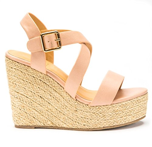 Definitely You Ladies Womens High Heel Wedge Platform Strappy Ankle Strap Espadrille Summer Sandals Shoes Size Nude fWWhJ