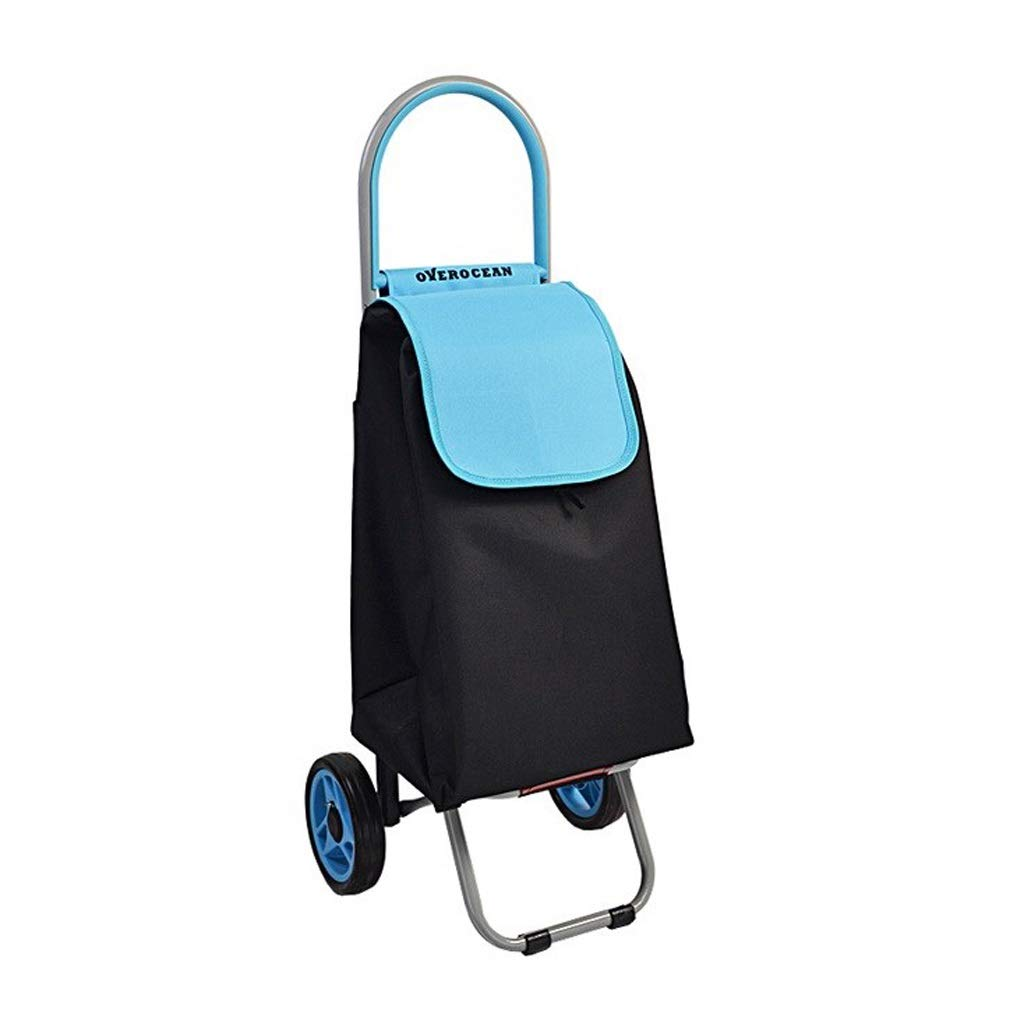 Lxrzls Old People Shopping Trolley - Portable Small Cart - Foldable Luggage Grocery Cart - Multi-Functional - Two Rounds