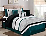 JBFF 7 Piece Oversize Luxury Stripe Bed in Bag Microfiber Comforter Set, Teal, King