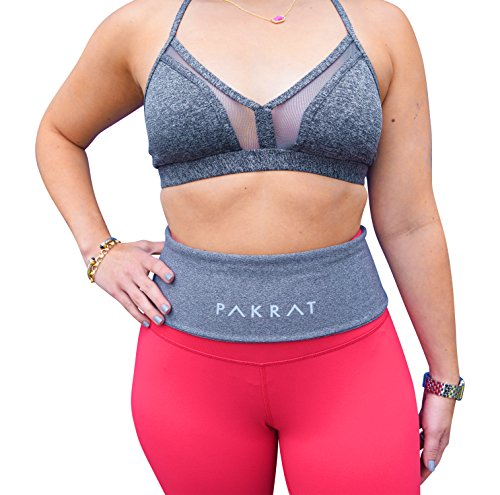 PakRat Running Belt Waist Pack – Runners Fold Over Belt, Fanny Pack for Jogging, Exercise or Travel, Holds Phone, Money, Keys – Now Customizable (Gray, Small)