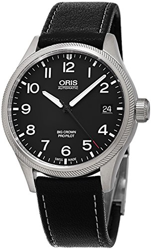 Oris Big Crown Propilot Automatic Black Dial Black Leather Mens Watch 751-7697-4164LS