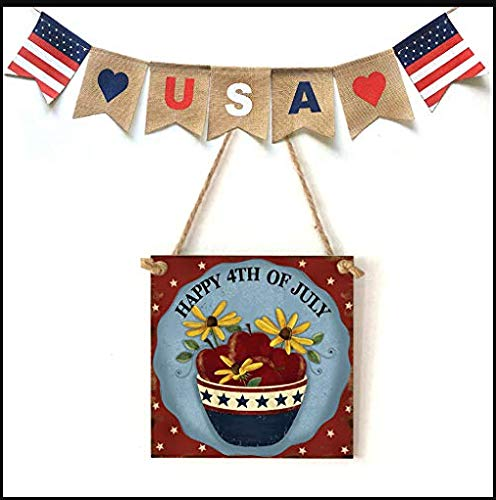 Wreath Plaques Award - American Flag Wooden Plaque,USA 4th of July Independence Day Wooden Plaque Sign,Wall Art, Decorative Wood Sign Home Decor,Wall Plaque Shabby Chic Garage Fence Garden Gate Sign (D)