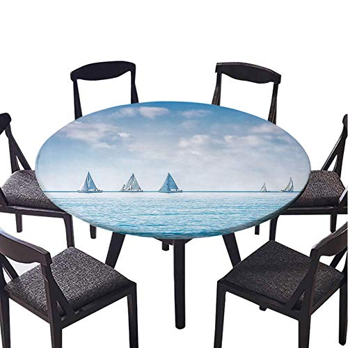 SATVSHOP Round Tablecloth 100% Polyester Circular-35 Round-Ocean Sail Boats Sea egatta ace Sports Panoramic View Seascape Summer Sky Photo Light Blue and White.(Elastic Edge)