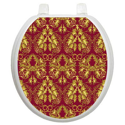 Toilet Tattoos Rococo Wine and Gold Design Toilet Seat Applique