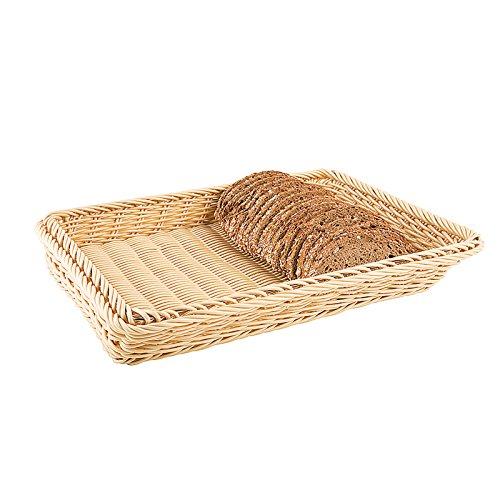 1//3 Hotel Pan Size Paderno World Cuisine 4-Inch High Polyrattan Bread Basket