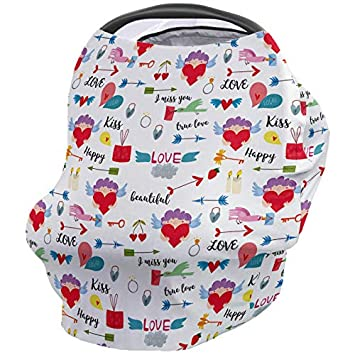 Amazon.com: Breastfeeding Nursing Cover Multi Use for Baby Car Seat  Declaration of Love: Kiss/True Love/Happy/Beautiful Heart Stretchy  Breathable Scarf Shawl for Stroller High Chair - Shopping Cart Canopy: Baby