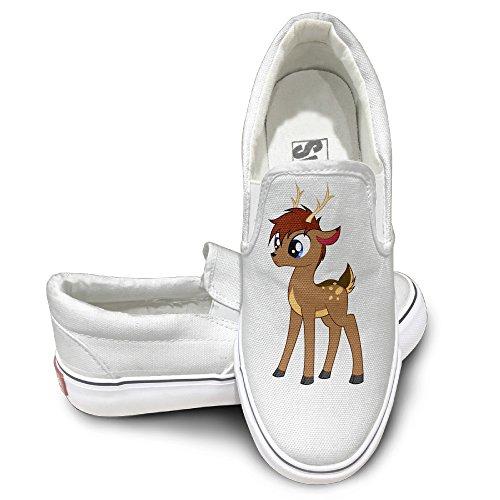 Deer God Costume (CAPA Unisex Sport Shoes Deer Flat Canvas Sneaker 40 White)