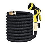 Lyhope Expanding Water Hose, 50ft Flexible Garden Hose - 3/4 Solid Brass Fittings - Heavy Duty Expandable Hose with 9-Modes Spray Nozzle (Black)