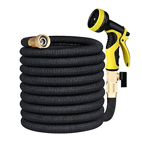 Lyhope Garden Water Hose, 50ft Flexible Watering Hose – 3/4 Solid Brass Fittings – Heavy Duty Expanding Hose with 9-Modes Spray Nozzle (Black)