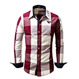 Ximandi Men's Checked Shirt Long Sleeve Non-Iron Casual Blouse Cotton Slim Fit Tops