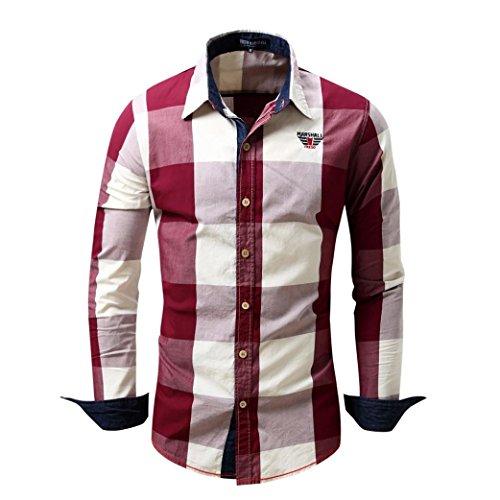 Ximandi Men's Checked Shirt Long Sleeve Non-Iron Casual Blouse Cotton Slim Fit Tops by Ximandi