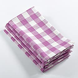 Fennco Styles Gingham Plaid Cotton Napkins - 6 Colors - Set of 4 (Lilac)